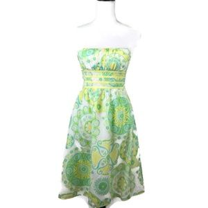 Lilly Pulitzer Dress Gree/Yellow Strapless Size 2